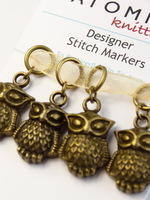 A Parliament of Owls Bronze stitch markers