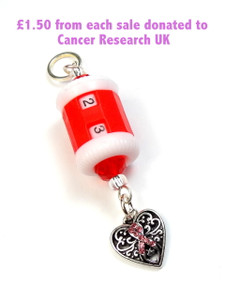 Red Row Counter Beaded Charm - Breast Cancer Awareness