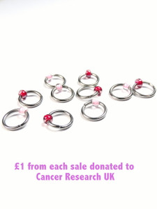 Charity 10 Jewel Rings Lace Markers 4mm - Breast Cancer Charity
