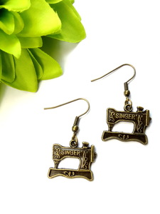 Sewing Machine Earrings - Antiqued Bronze
