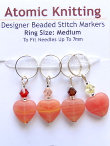 Peachy striped hearts with Swarovski crystals 7mm Stitch Markers