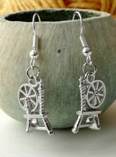 Spinning Wheel Earrings - Antique Silver Colour