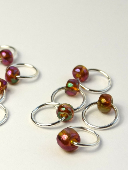 10 Topaz AB Jewel Rings Lace Stitch Markers - 4mm