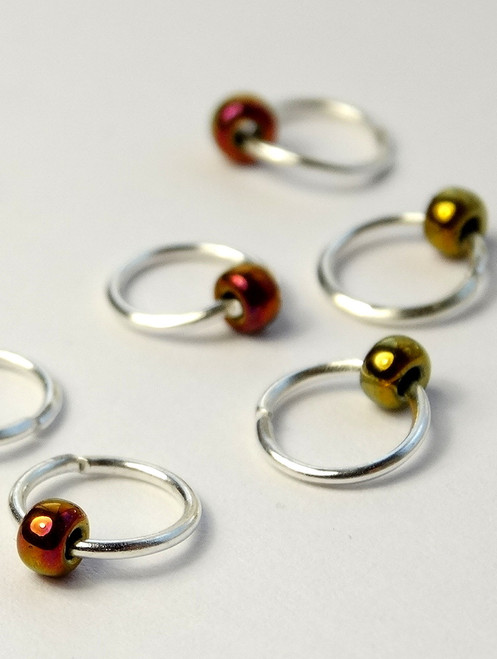 10 Dangle Free Jewel Metallic Green Stitch Markers 4mm