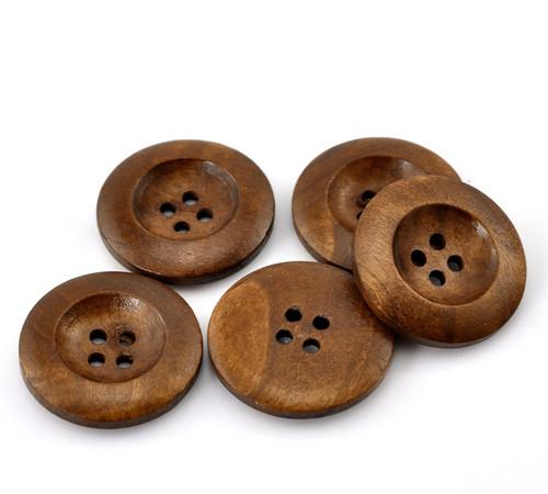 Dark coffee colour Round wooden 4 hole Button - 25mm x 1