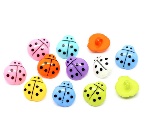 Ladybird Acrylic Shank Button - LIGHT BLUE- 16mm x 15mm