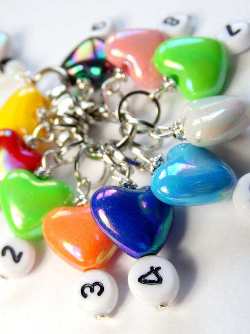 Counting Stitch Markers set of 10 - Colourful Hearts Bright