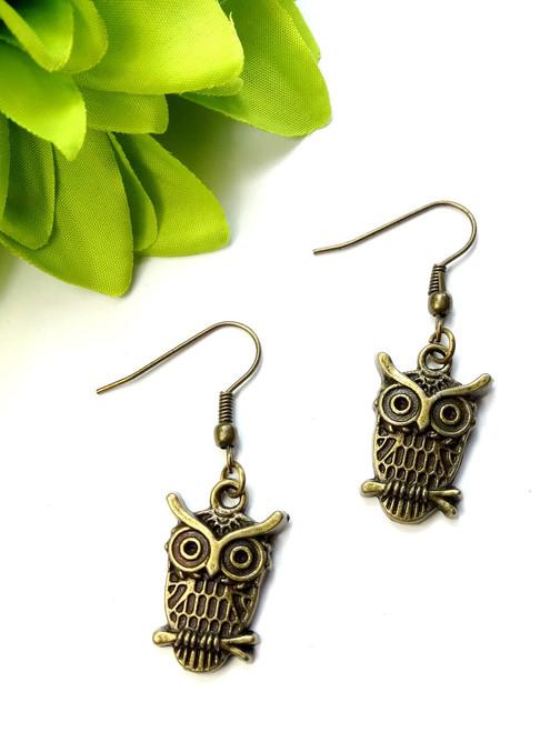 Owl on a branch earrings