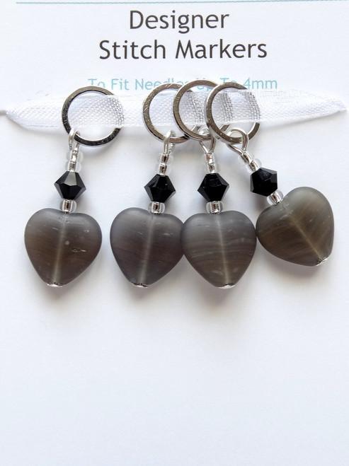 Dark Grey striped hearts with Swarovski crystals 4mm Stitch Markers