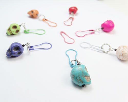 NEW! Bright Skulls Stitch Markers - set of 7 - dual fit 4mm/7.5mm