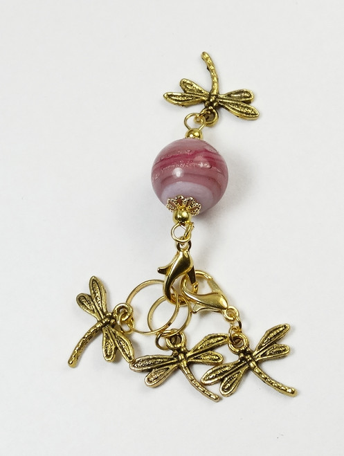 Pink Swirl Bead keeper with dragonfly trio stitch markers