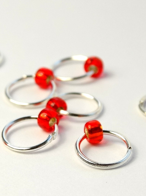 10 Really Red Jewel Rings Lace Markers 4mm