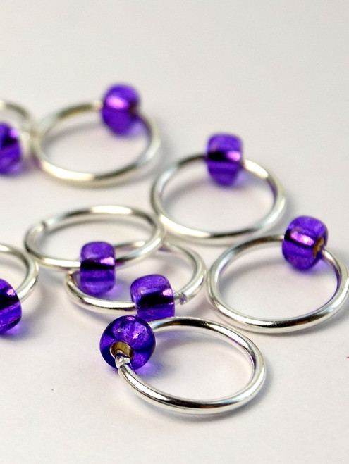10 Perky Purple Jewel Rings Lace Markers 5mm