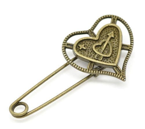 Antique Bronze Heart Brooch Shawl Pin