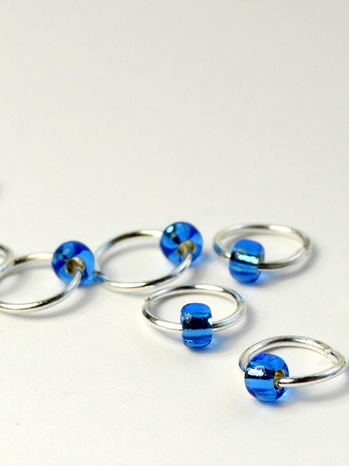 10 Burly Blue Jewel Rings Lace Markers 4mm