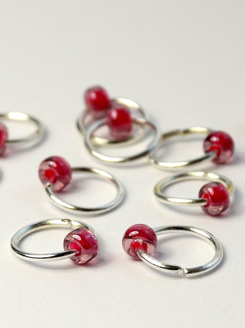10 Very Berry Jewel Rings Lace Markers 4mm