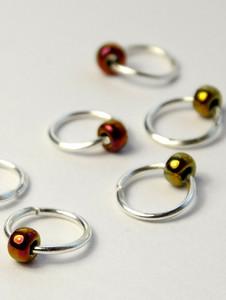 New! 10 Dangle Free Jewel Metallic Green Stitch Markers 4mm