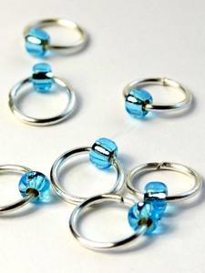 New! 10 Dangle Free Jewel Aqua Stitch Markers 4mm