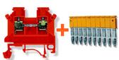 10 x Din Rail Threaded Connectors 2.5mm + 10-Way Connector Bridge