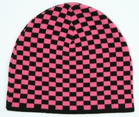 Check S black-pink mix beanie
