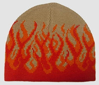 Fire H beige-red mix beanie