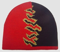 Fire V red-black mix beanie