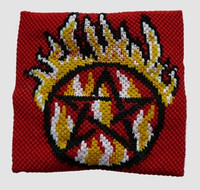 Pentagrame fire red sweat band accessory