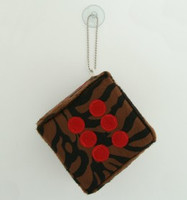 1 Dice zebra D brown / red 1 dice car accessory