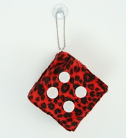Dice leopard red / white 1 dice car accessory