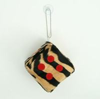 Dice zebra L brown-black / red 1 dice car accessory