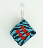 Dice zebra blue-black / red 1 dice car accessory