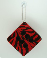 1 Dice zebra red-black / black 1 dice car accessory