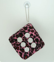 1 dice leopard Pink / white 1 dice car accessory