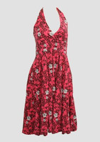 Skull rose pink marilyn dress