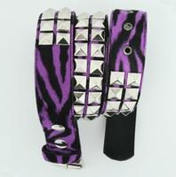 Zebra purple belt studs belt