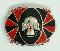 Skull dice red-black big buckle