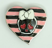 Heart skull pink big buckle