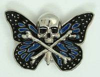 Butterfly skull blue big buckle