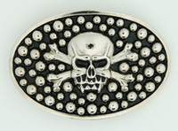 Oval skull bone dot big buckle