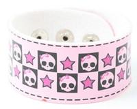 Cute skull star pink S big stripes & checker
