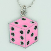 Dice PE pink mix necklace