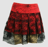Spider red punk mini skirt
