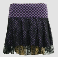 Check purple punk mini skirt