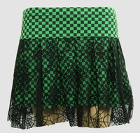 Check green punk mini skirt