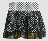 Check white punk mini skirt