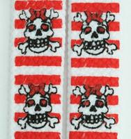 Skull stripe V white-red skull color skull