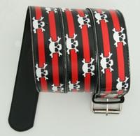 Skull stripe red skull belt