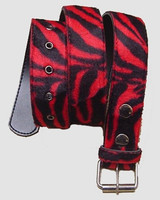 Zebra red belt fluffy belt