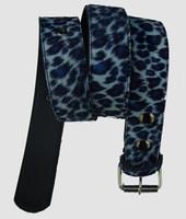 Leopard blue belt fluffy belt