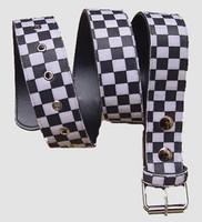 Check black-white belt fluffy belt